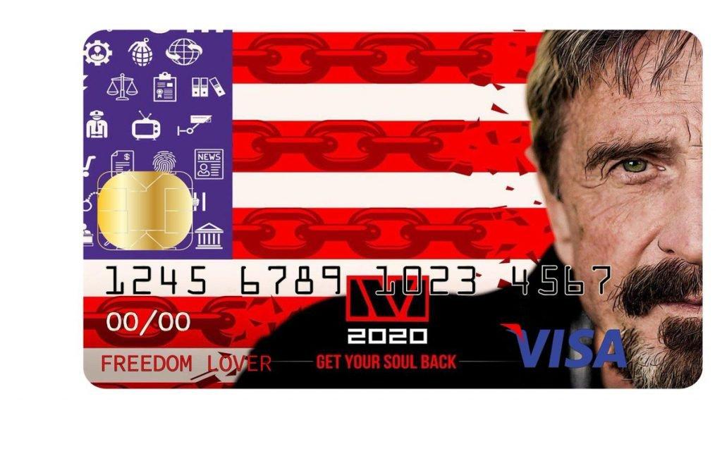 john mcafee cartão criptomoeda