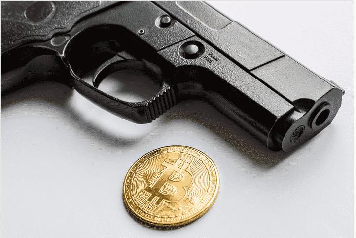 maleta bitcoin e armas