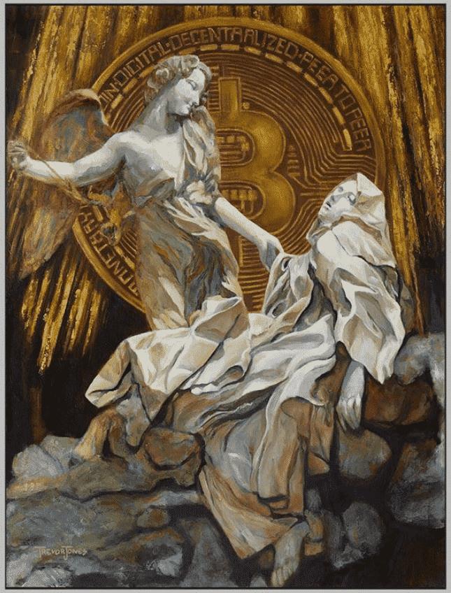 bitcoin obra de arte caridade anjo