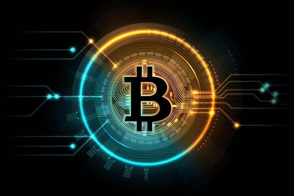 Gold bitcoin. Mining business symbol, internet exchange digital market. Cryptocurrency, blockchain technology vector background. Bitcoin virtual, btc illuminate net, neon bright cryptocurrency
