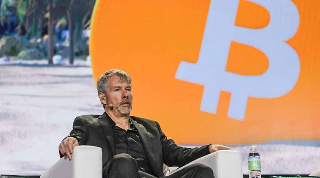 MIAMI, FLORIDA - JUNE 04:  MicroStrategy CEO Michael Saylor  speaks at the Bitcoin 2021 Convention, a crypto-currency conference held at the Mana Convention Center in Wynwood on June 04, 2021 in Miami, Florida. The crypto conference is expected to draw 50,000 people and runs from Friday, June 4 through June 6th.  (Photo by Joe Raedle/Getty Images)